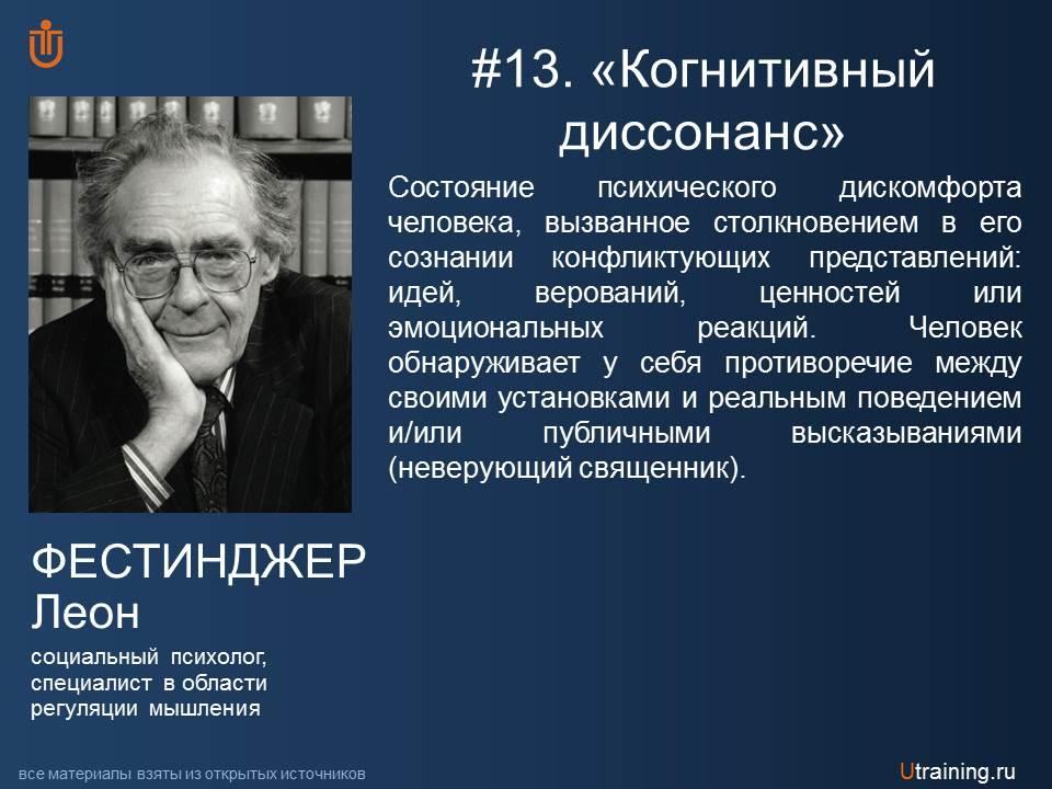 «Когнитивный диссонанс» Л. Фестинджер.